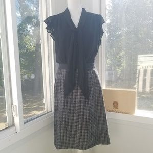 The Limited Black Tie-Neck and Tweed Dress
